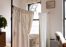 Tiny, functional shabby chic style bedroom [Photography: Rikki Snyder]