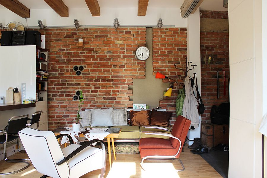 Tiny industrial living room that showcases love for DIY projects [Design: Martin Hulala]
