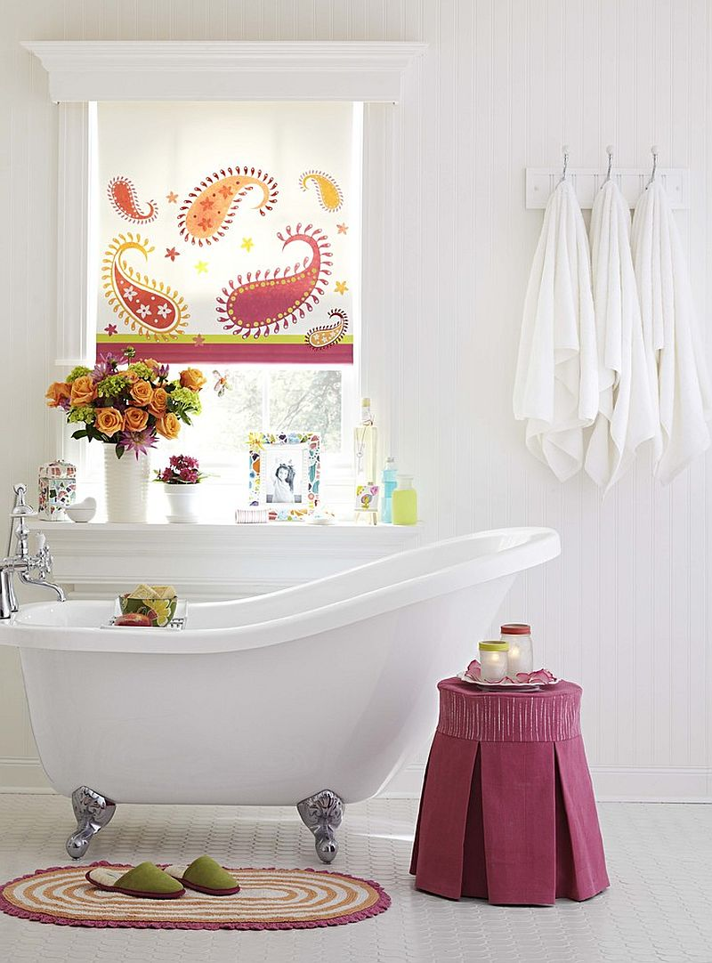 Tiny stool adds color to the neutral backdrop of the stylish bathroom [Design: Lowe's Home Improvement]