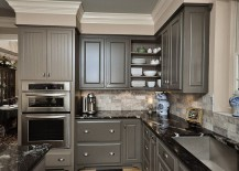 Traditional approach to using gray in the kitchen [Design: Dreammaker Bath & Kitchen]