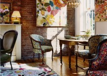 Traditional living room with colorful decor additions [Design: Kim Parker Interiors]