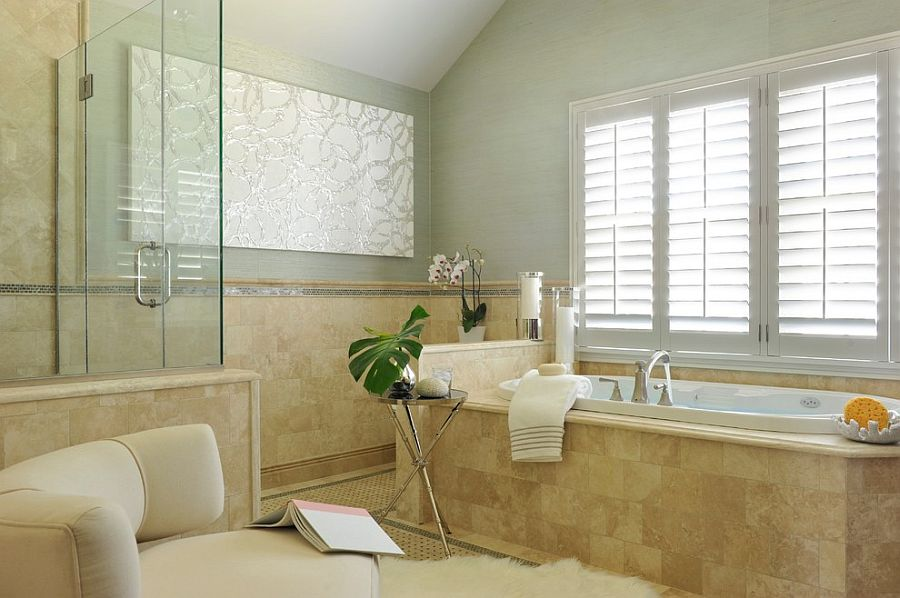 Transitional bathroom makes use of available space to the fullest [Design: Frances Herrera Interior Design]
