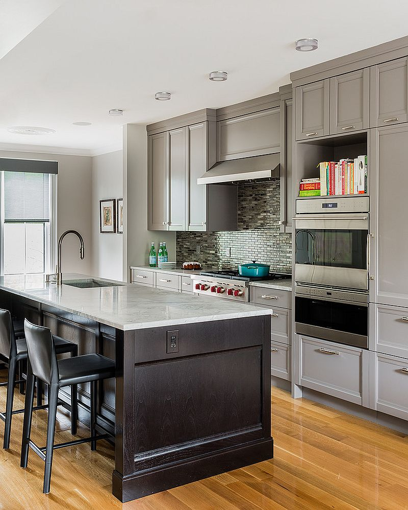 Transitional kitchen with traditional cabinets in gray [Design: HP Rovinelli Architects]