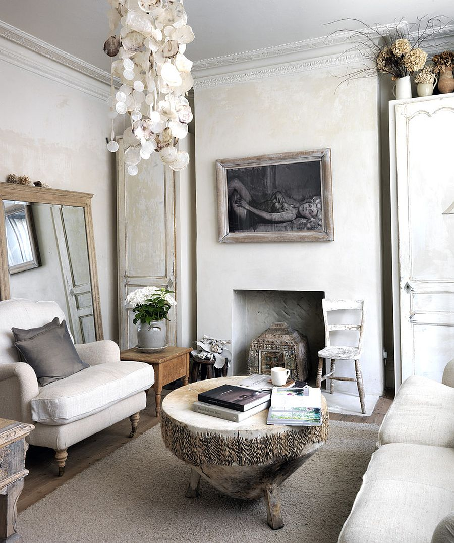 View In Gallery Tree Trunk Coffee And Antique Mirror Epitomize The Shabby  Chic Style Of The Room [Design