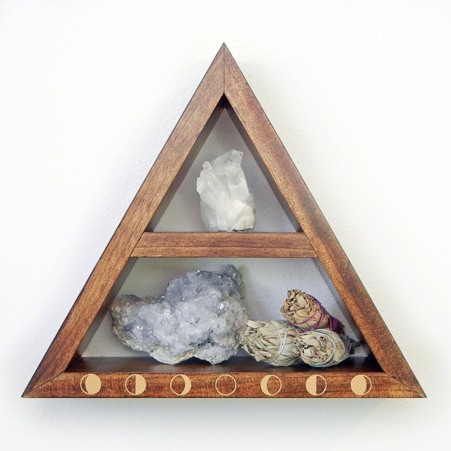 Triangular moon phase shelf from Etsy shop Fjallrav Paper Co.
