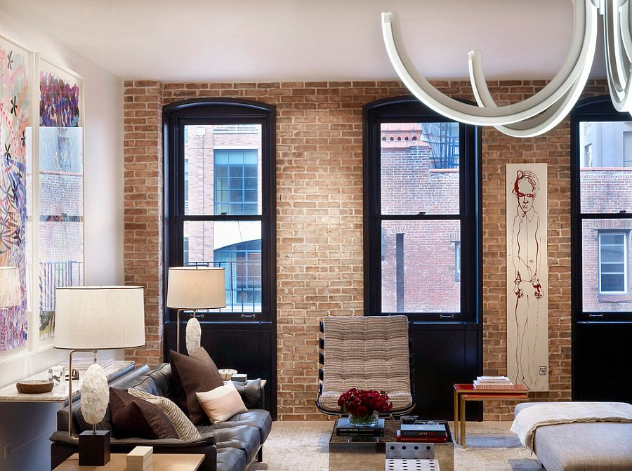 Tribeca residence with a brick wall living room [Design: Dirk Denison Architects]