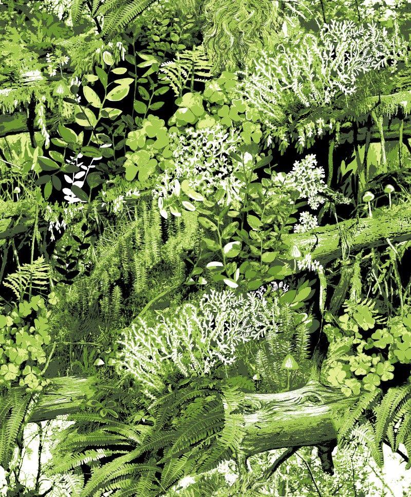 Trollskogen-tapetti-vihreä-Vallila-Interior