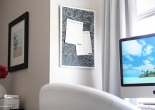 Tropical black and white fabric covering a cork board 217x155 8 DIY Projects to Dress Up Your Cork Boards
