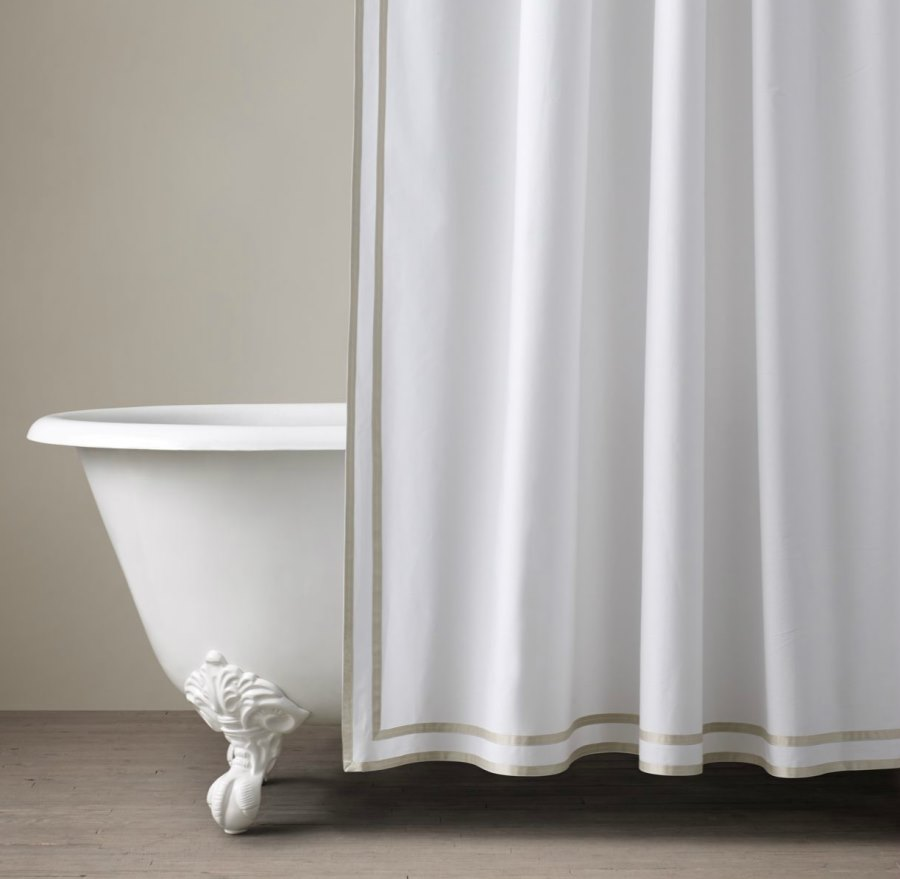 White shower curtain ideas - View In Gallery Turkish Cotton Shower Curtain From Restoration Hardware