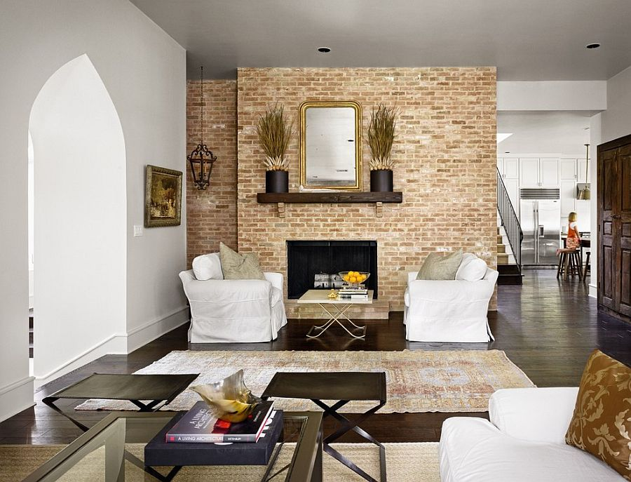 Turn the accent brick wall into the focal point of your living room [Design: Hugh Jefferson Randolph Architects]