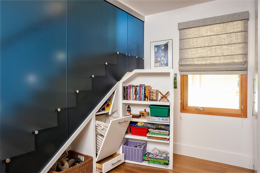 Under stairs storage that disappears when not needed [Design: Square Three Design Studios]
