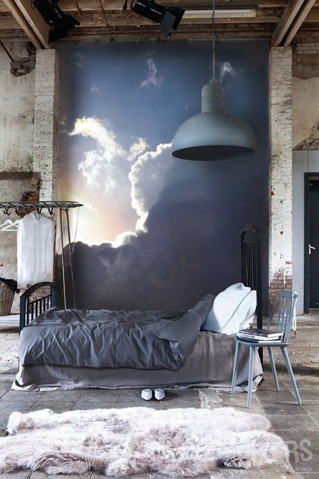 15 soothing bedrooms that take inspiration from the clouds for Bedroom mural painting