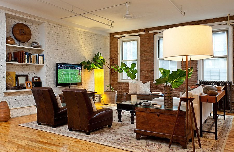 Varied finish for the brick walls in the industrial living space [Design: Helaina Bernstein Design]