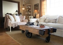 Vintage coffe table on wheel is a trendy choice for the modern living space