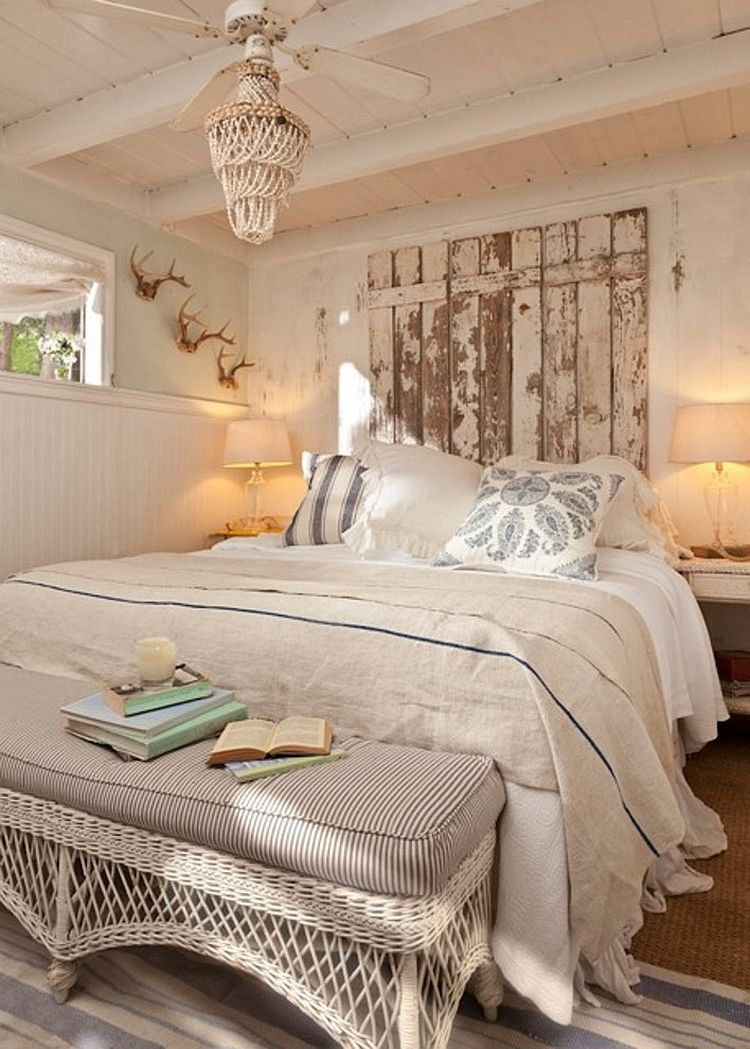 Vintage touches and headboard crafted from reclaimed wood for the shabby chic bedroom [Design: Tumbleweed & Dandelion]