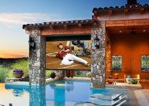 Vinyl screen and projector turn the pool area into a comfy theater