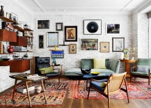Vivacious eclectic living room with a fabulous brick wall backdrop
