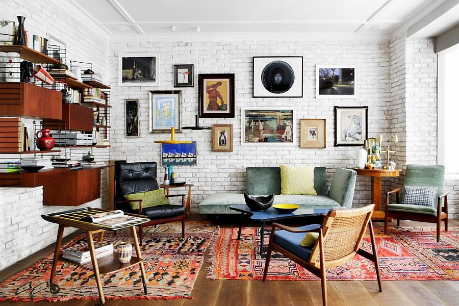 Vivacious Eclectic Living Room With A Fabulous Brick Wall Backdrop Design Mikel Irastorza