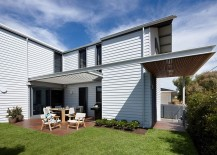 Weatherboard cladding gives the Beach House a classic appeal 217x155 Relaxing Beach House Energizes Classic Color Palette with a Tasteful Twist