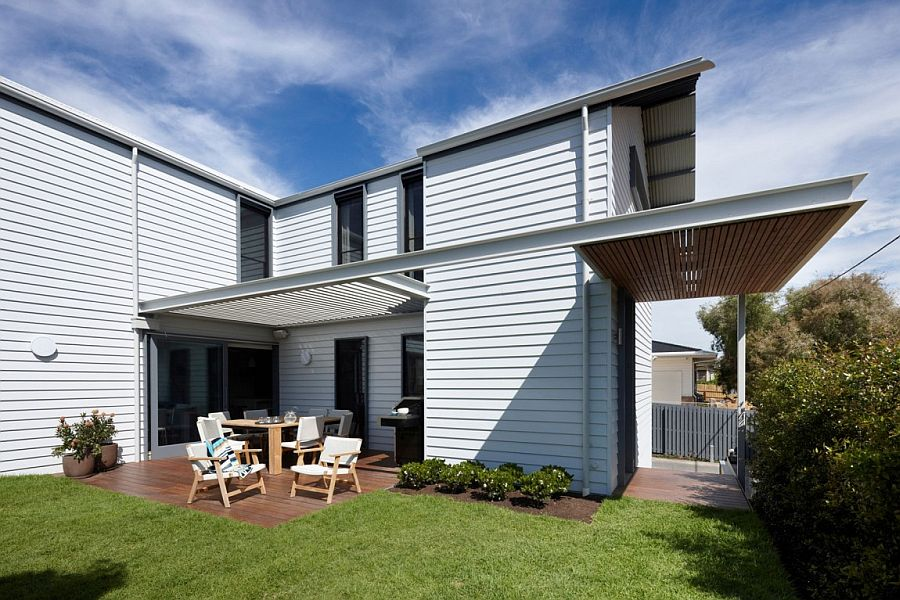 Weatherboard cladding gives the Beach House a classic appeal