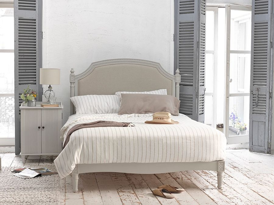 Weathered Look Of The Flooring Shutters In Gray And Vintage Bed Usher Shabby