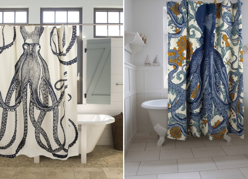 Octopus shower curtains from Thomas Paul