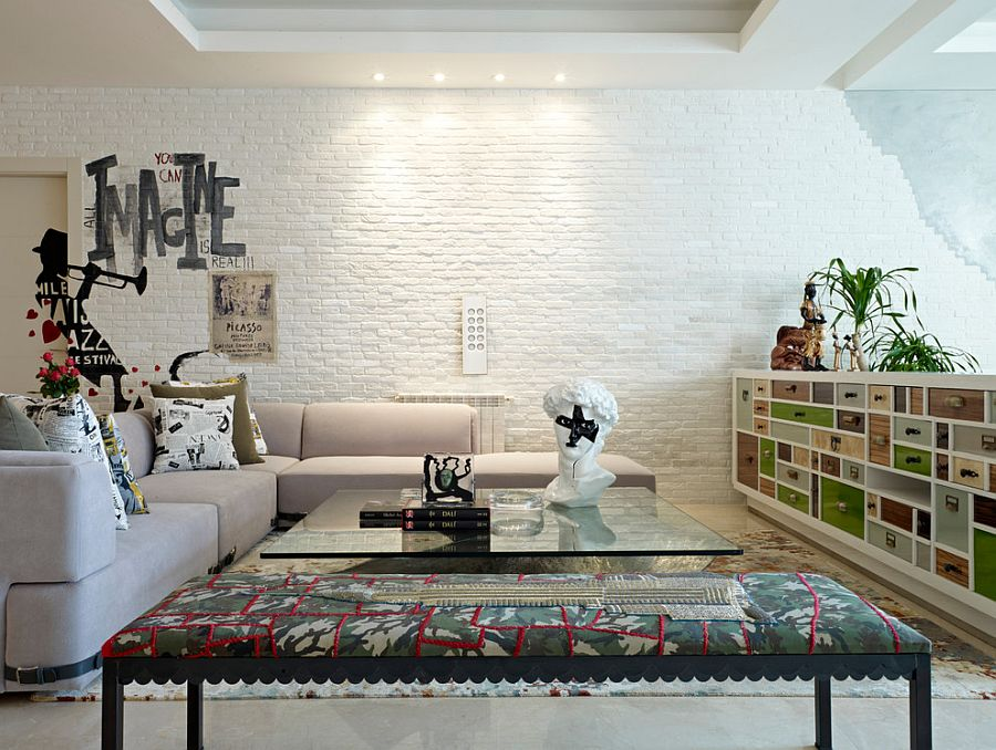 white brick wall is a favorite among contemporary homeowners looking for textural contrast design - Brick Wall Design