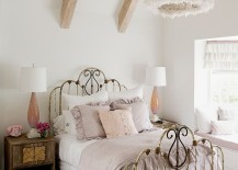 White feather pendant is ideal for the shabby chic bedroom