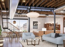 White, painted brick walls add to the drama of the large indsutrial Chelsea loft