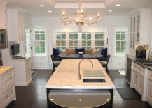 White recessed ceiling in a white kitchen