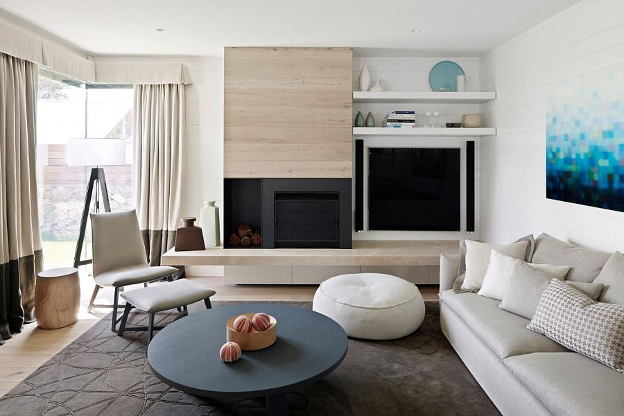 White walls and limed oak timber fashion the contemporary living room