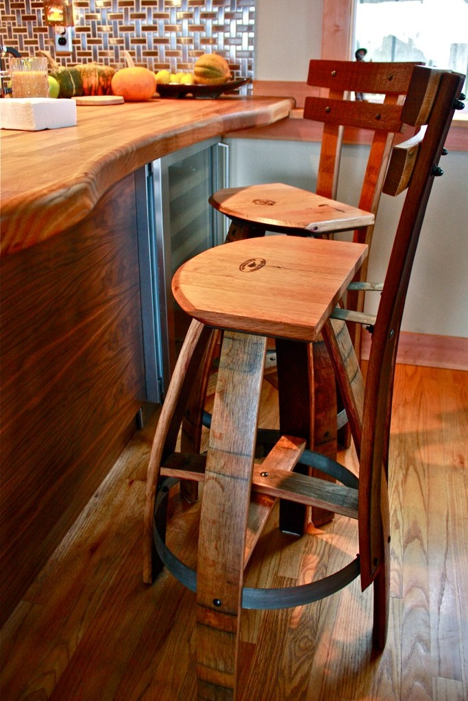 Wine barrel bar stools