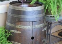 Wine barrel vanity from Katy Barrel Company