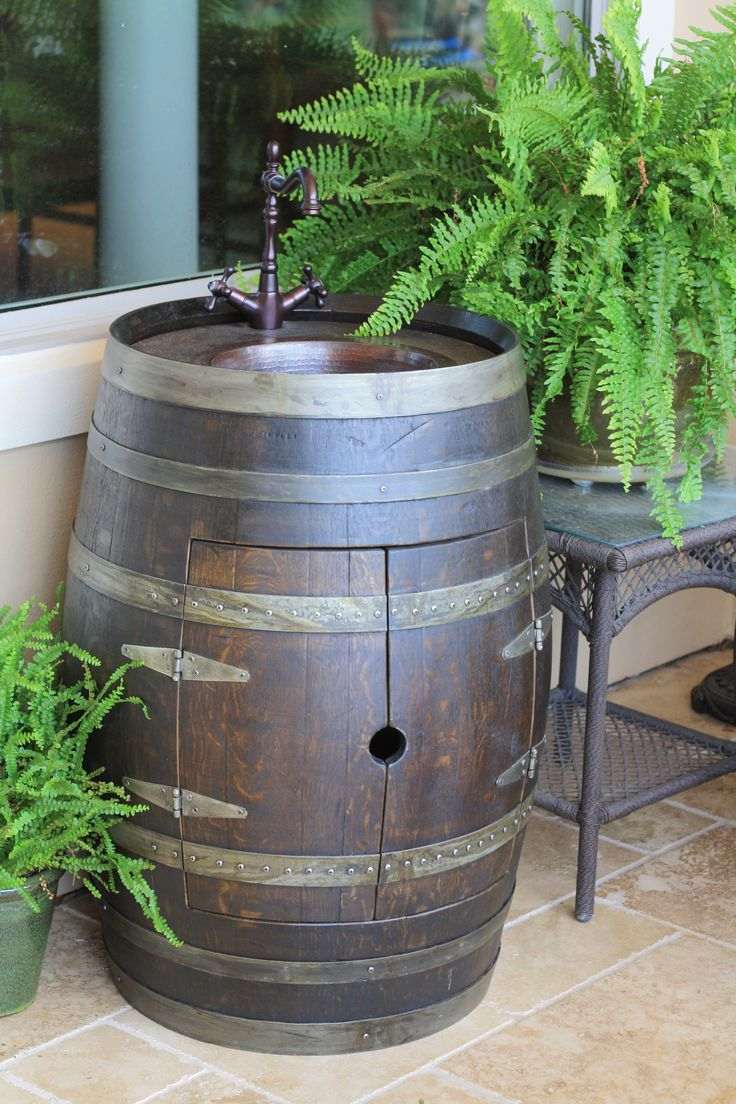 Wine barrel vanity from Katy Barrel Company