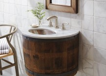 Wine barrel vanity mounted to the wall
