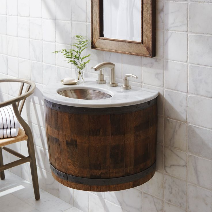 Wine barrel vanity mounted to the wall