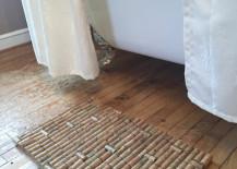 Wine cork bath mat with a subtle pattern 217x155 7 Bath Mat Ideas to Make Your Bathroom Feel More Like a Spa