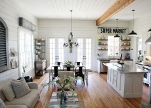 Wood, metal and white create a breezy living room