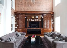 Wood, stone and brick come together in this spacious living area [Design: Vin de Garde MODERN WINE CELLARS]