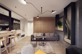 Wooden accent wall in the living room acts as a partition  A Throwback to the 60s: Midcentury Décor Fashions Posh Warsaw Home Wooden accent wall in the living room acts as a partition 270x180