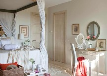 Wooden frame of the bedroom draped in cloth balances contrasting textures [Design: Dafne Vijande]