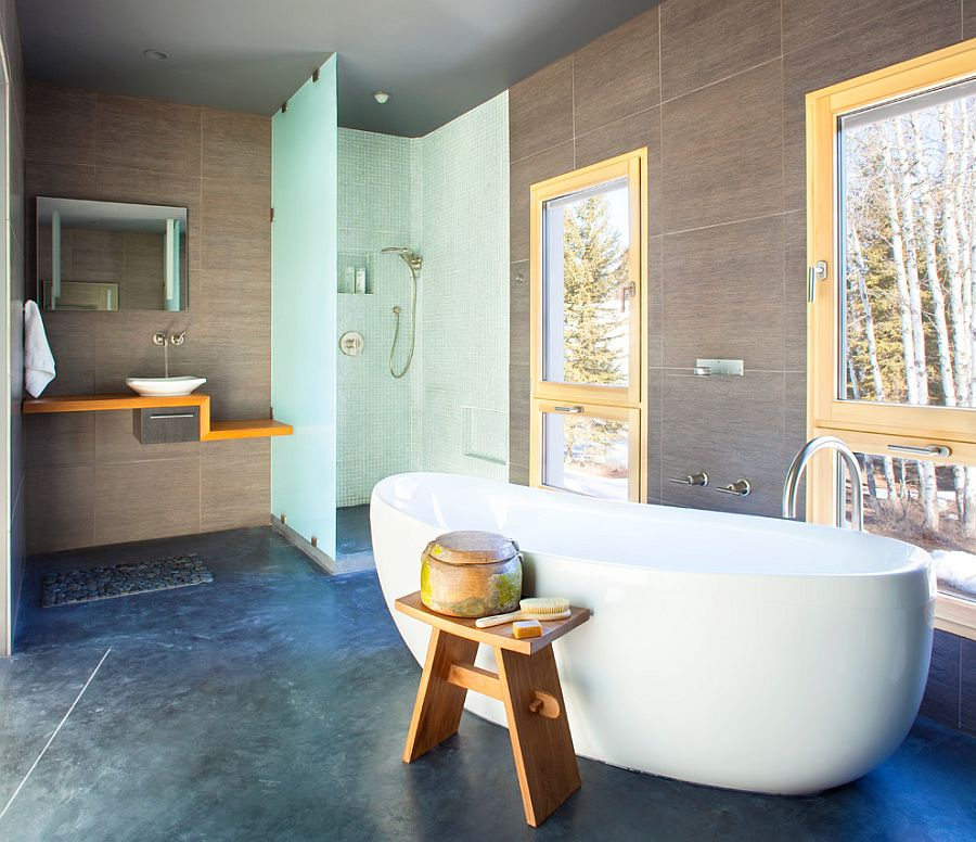... Wooden Stool Adds Asian Flavor To The Bathroom [Design: Mindful Designs]