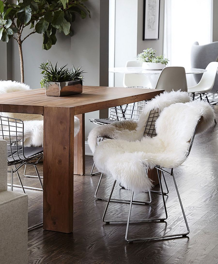 Wool and woven natural fibers bring warmth to the interior