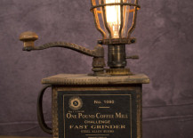 1920's Sun Manufacturing Co. coffee grinder lamp from VintageLightingCo