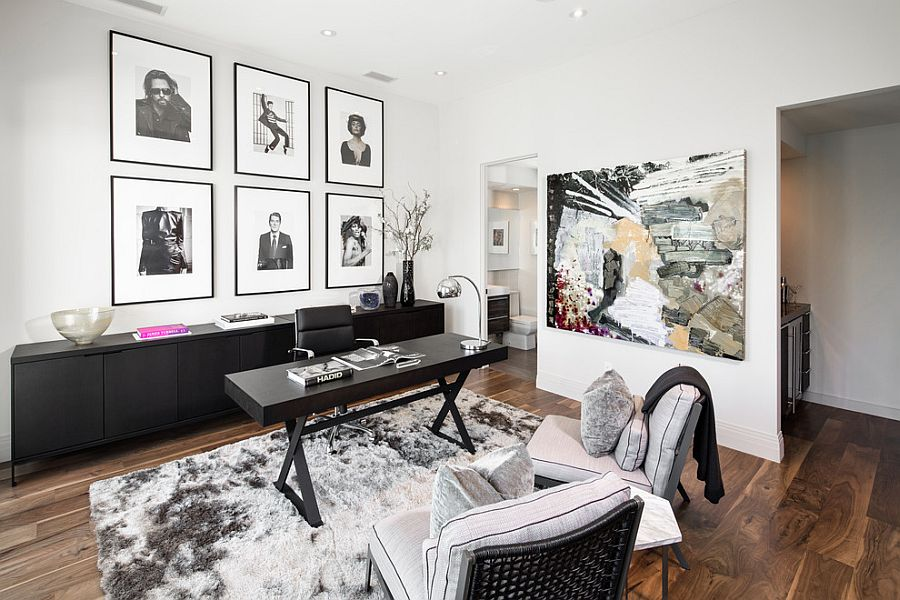 ... A Collection Of Black And White Framed Photographs And Wall Add To The  Neutral Color Scheme