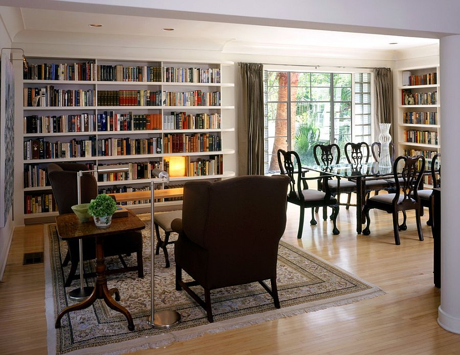 A dedicated reading zone in the large dining room adds to the appeal of the library setting [Design: Tim Cuppett Architects]