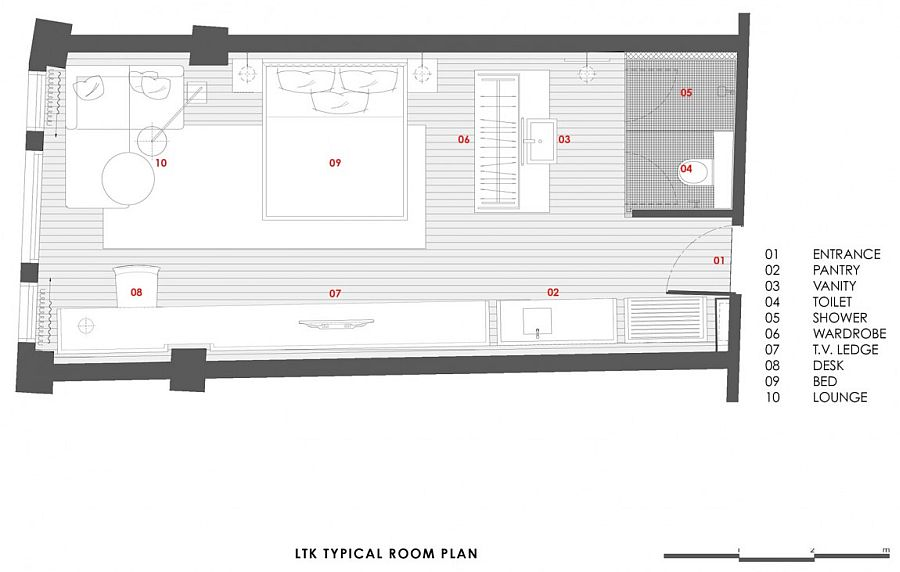 A look at the floor plan of guest suite at Loke Thye Kee Residences