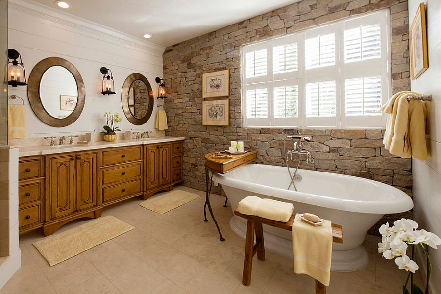 A wonderful blend of modern and traditional styles in the bathroom with stone wall [Design: Decorating Den Interiors- Corporate Headquarters]