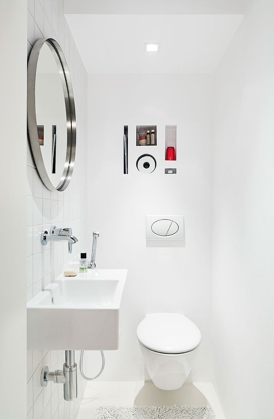 All-white small bathroom design
