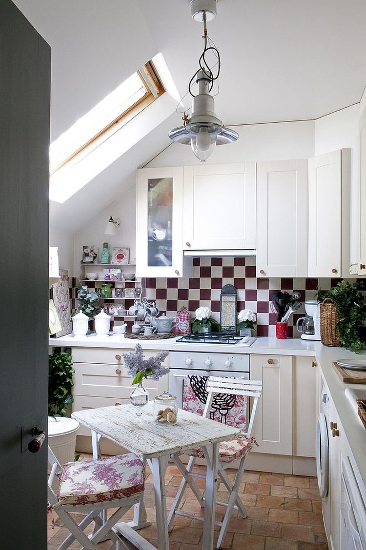 Shabby Chic Kitchen Design Ideas Part - 48: ... Ample Natural Light, Color Scheme And Shabby Chic Style Fashion A  Lovely Attic Kitchen [